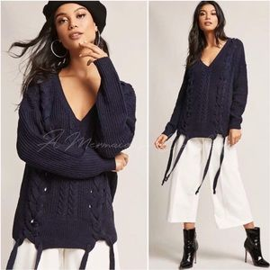 🆕Chloe Lace Up Sweater in Navy